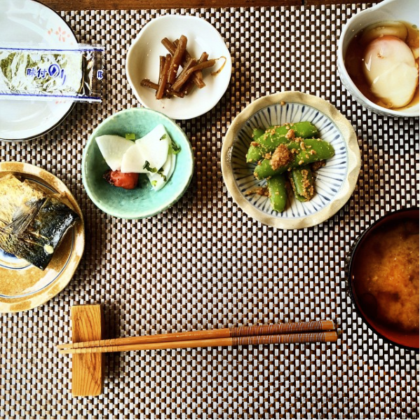 A typically served, rustic meal with miso soup in Yakushima, Japan.