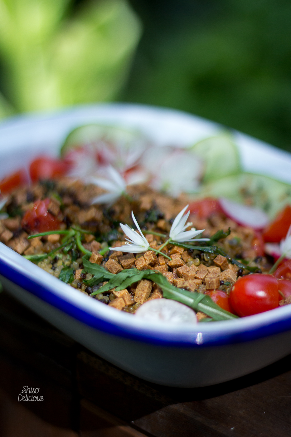 Pan-fried Fakon topping on a quinoa and rucola salad.