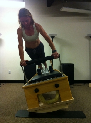 Jennifer demonstrating the Rocking Reformer!