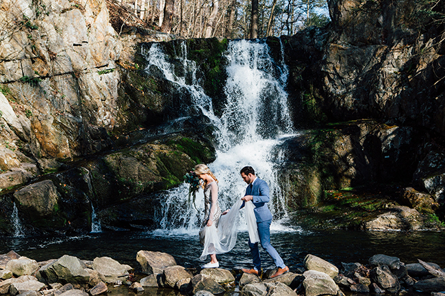 woodsy waterfall elopement