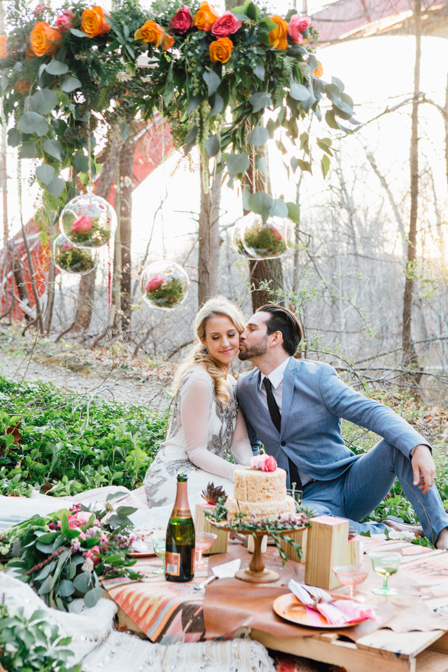 woodsy elopement picnic