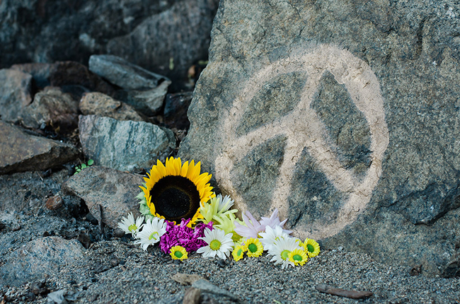 peace sign and flowers