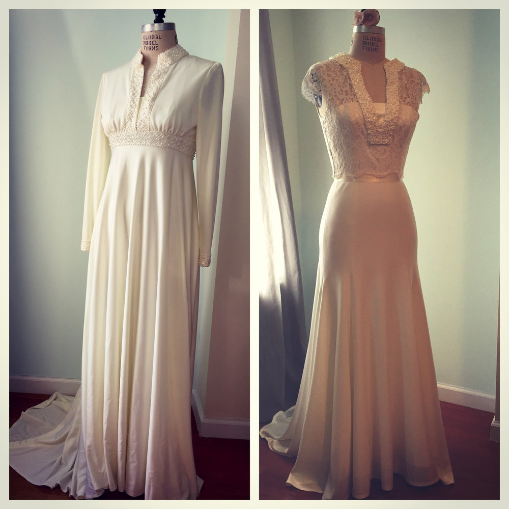 Before and After: Vintage Reconstruction from her mothers 1975 wedding gown