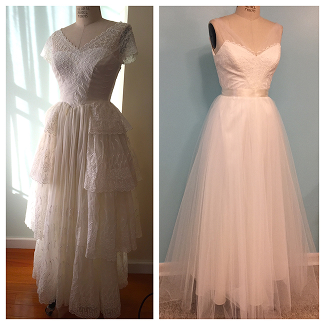 Before and After: Vintage Reconstruction from her grandmother's 1955 wedding gown