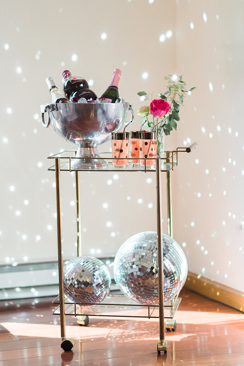 rose inspired bar cart