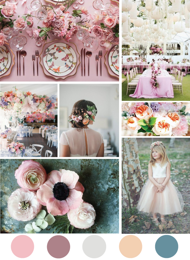 Pink garden party mood board