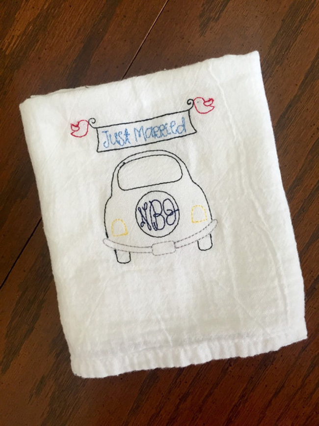 Personalized wedding gift idea - Embroidered Tea Towel
