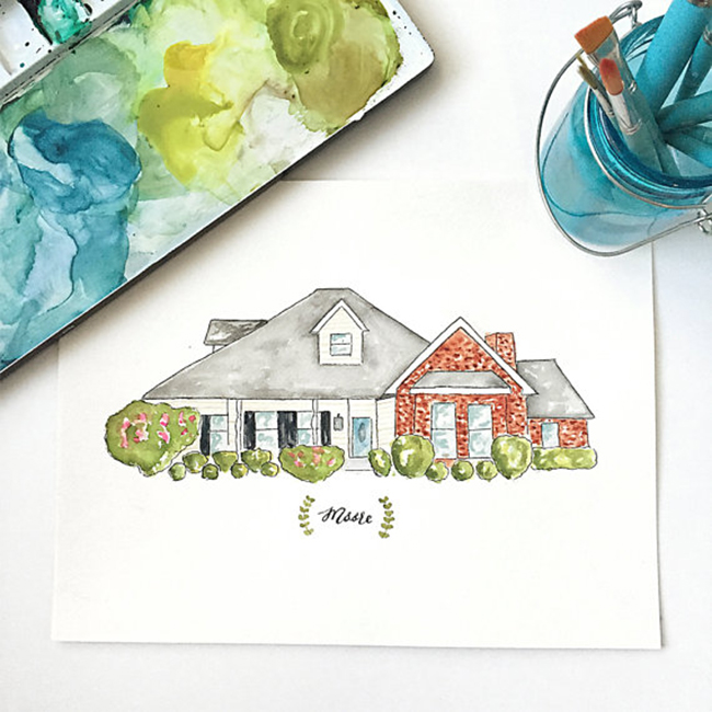 Personalized wedding gift idea - Custom House Illustration