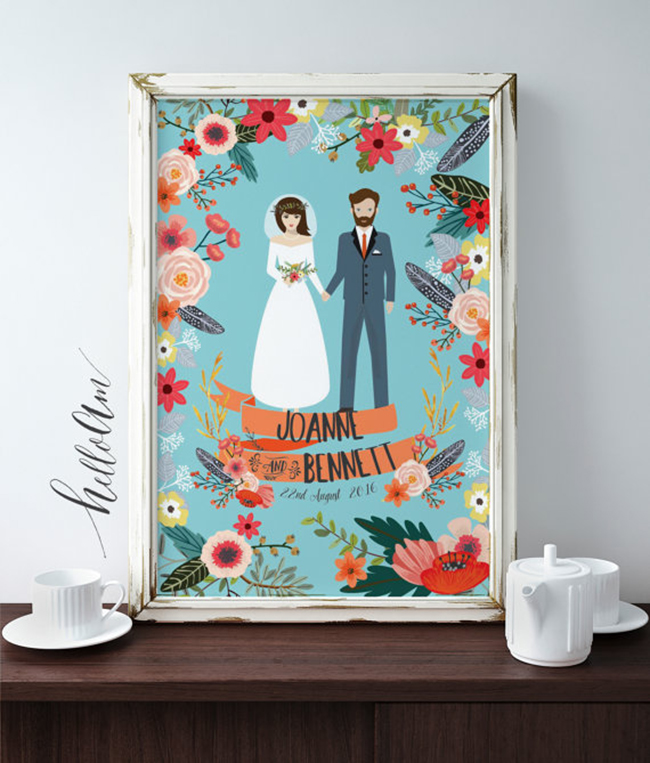 Personalized Wedding Gift Idea - Custom illustration
