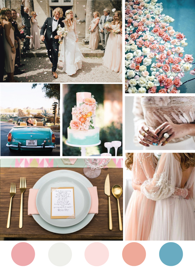 Blush and Turquoise Mood board