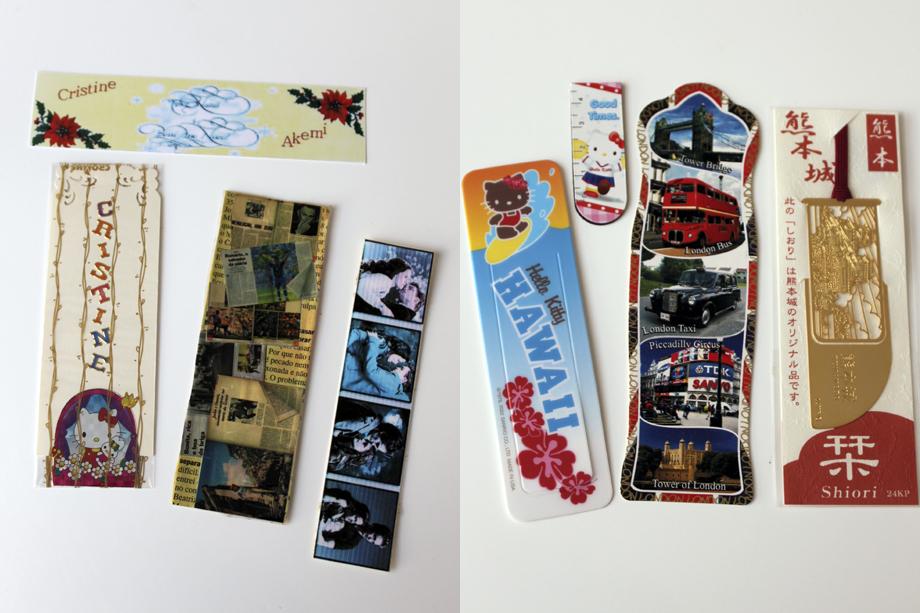 Marcadores handmade e marcadores comprados que recebi de presente em trocas ou como lembrancinhas.