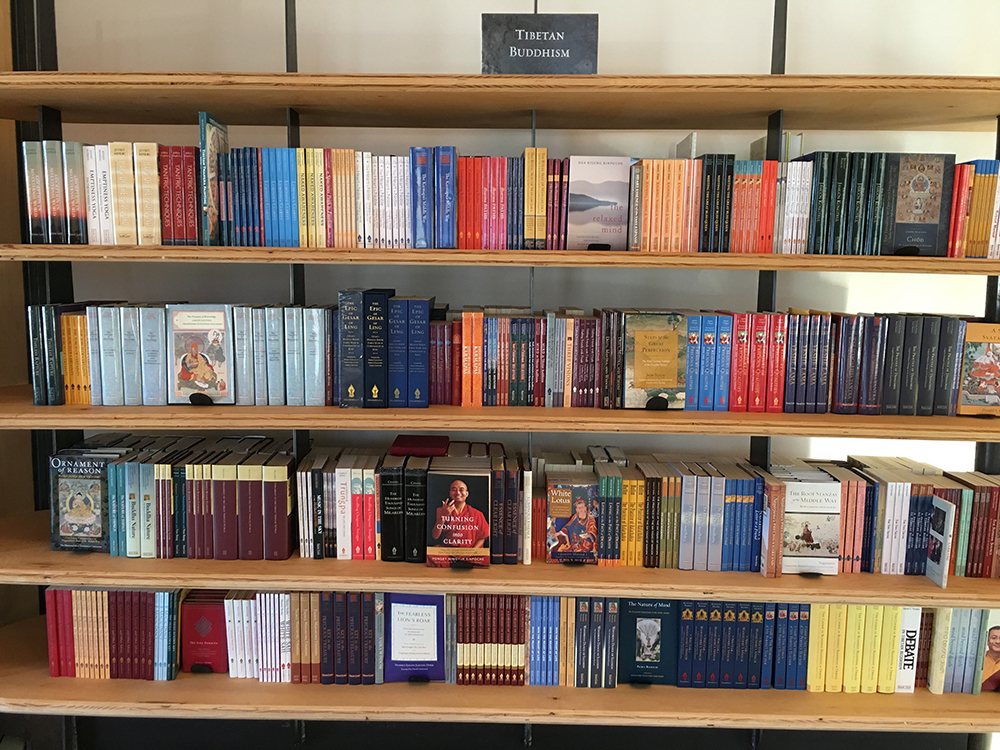 Part of the Tibetan Buddhist section at Shambhala Publications' office store in Boulder