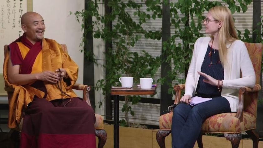 Anyen Rinpoche and Alison Zangmo during filming for an upcoming online course.