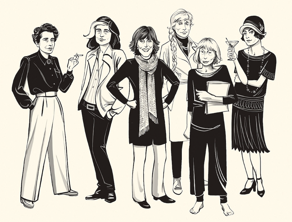 "Right to left: Hannah Arendt, Susan Sontag, Nora Ephron, Renata Adler, Joan Didion, and Dorothy Parker as they appear on the front cover of the U.S. printing of ""Sharp."""