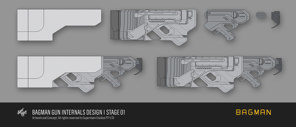 Gun internals designed to assist in real world modelling and functionality.