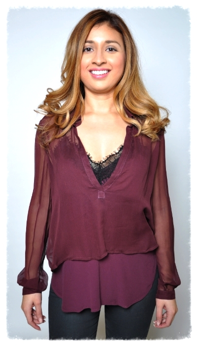 Claret silk layered blouse with black lace cami by Cynthia Vincent.