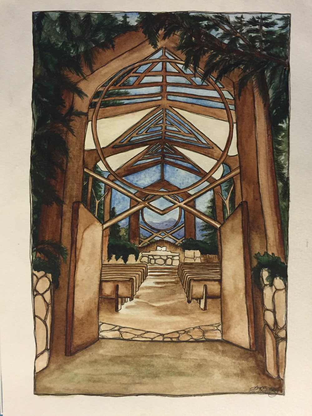 Wayfarer's Chapel. 9 in x 12 in, Watercolor & Ink, 2014