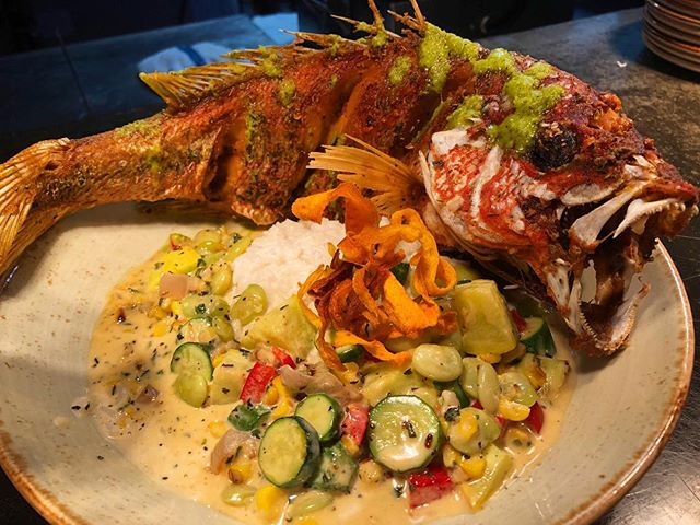 Tonight's dinner special will be fried red snapper with coconut rice, succotash and finished with house made cilantro sauce  #brooklandsfinest #neeats #districteats #dcfoodies #seafood #redsnapper #specials