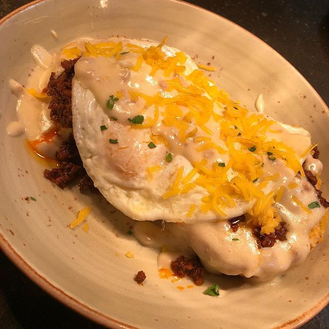 BRUNCH SPECIAL: The Hangover Cure  Biscuits and gravy with spicy chorizo, two eggs cooked to order, and cheddar cheese.  To add extra wellness points: order a Bloody Mary  #brunch #brooklanddc💛 #brooklandsfinest #dceats #dcbrunch #districteats #dceater #neeats #districtfoodies #dcfoodie #bitchesthatbrunch #biscuitsandgravy #eggs #chorizo #saucy #hangover #hangovercure #bloodymary