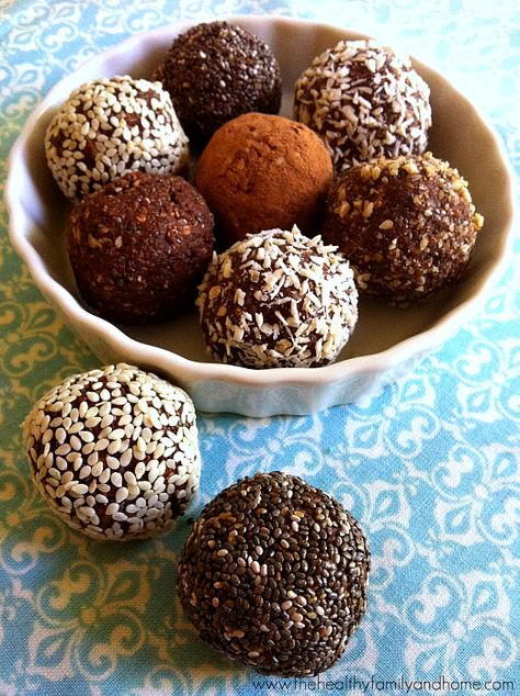 Crunchy Raw Protein Balls from  Healthy Family and Home