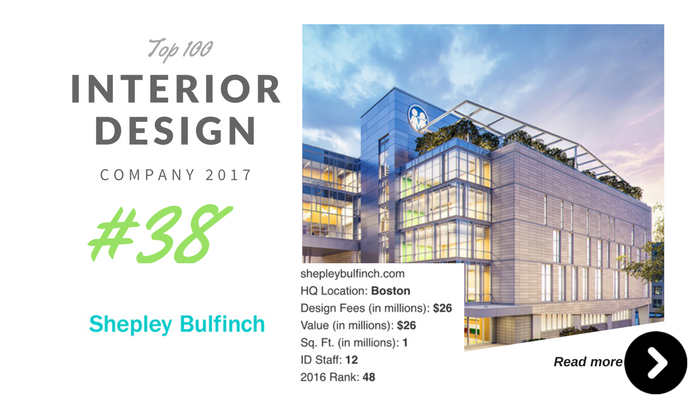 top 100 interior design company shepley bulfinch