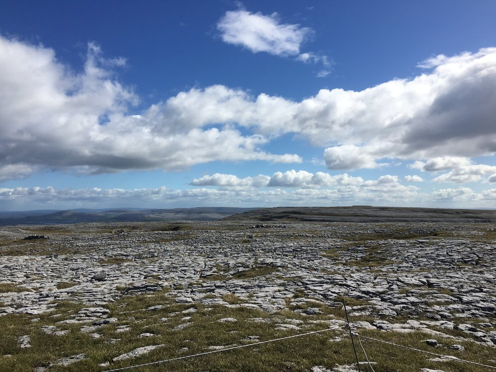 Looking east from Gleninagh Mountain, the Burren, County Clare.