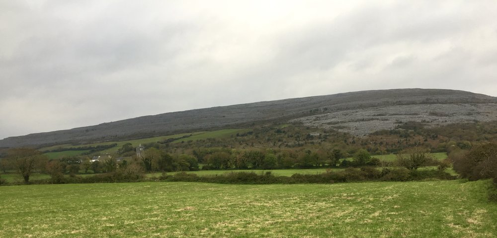 Storm brewing over the Burren College of Art, Newton Castle & Cappabhaile Mountain, Ireland