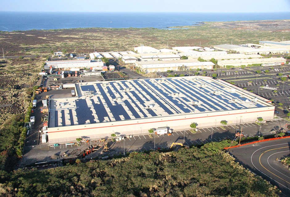 "Costco Wholesale - Kona Kona | HAWAII 680 kW PROJECT DETAILS What better place for Costco to ""go solar"" than in one of the sunniest spots on earth – Kona, Hawaii. In 2007, REC Solar installed a 680 kW (DC) solar electric system on the Costco Wholesale Corporation's warehouse in Kona, HI. As with all Costco locations, a web based monitoring system tracks and stores the system's energy output."
