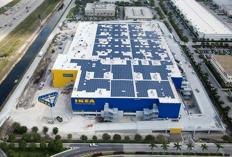 IKEA Sweetwater Sweetwater | FLORIDA 1.18 MW PROJECT DETAILS This 178,000-square-foot solar array was designed to produce over 1,700,000 kWh of electricity annually for the store, the equivalent of reducing 1,227 tons of carbon dioxide – equal to providing electricity for 169 homes yearly. All roof equipment and racking was mounted with a proprietary racking system which provided minimal roof penetrations and the set screws typically associated with seam clamps.