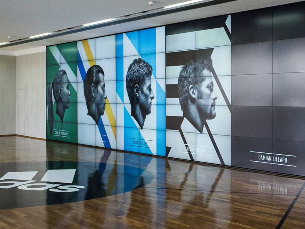 adidas group media wall Content creation for a media wall of the global headquarters of the adidas Group