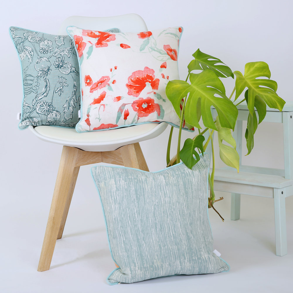 Poppy Seedhead ,  Hannah Rose , and  Sophie Peach  screen printed cushions