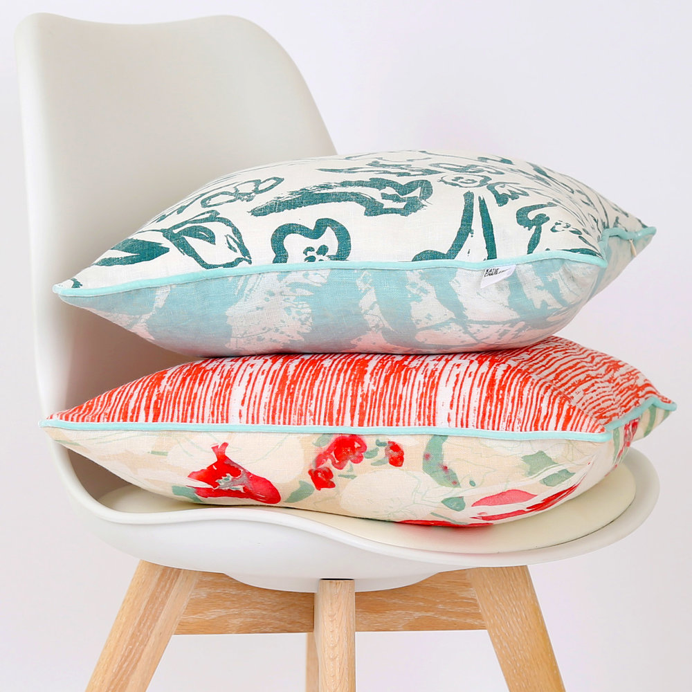 Wildflower Teal  &  Stephanie  screen printed cushions, side on showing all four prints featured