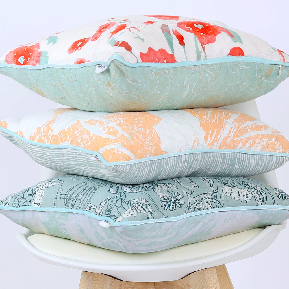 Hannah Rose ,  Sophie Peach  &  Poppy Seedhead  cushions, showing all the different screen prints featured