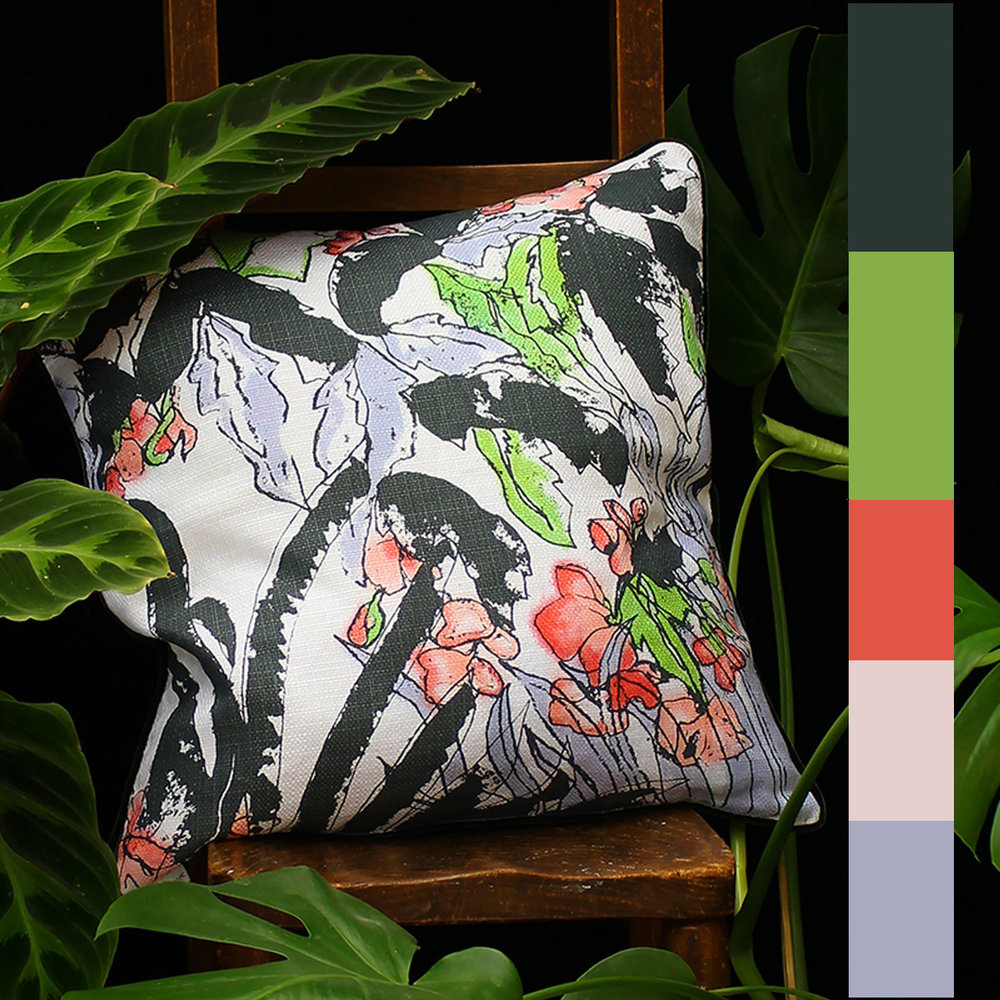 "Laurel Clock Vine screen printed cushion with hand painted dyes including ""Greneery"", available here"