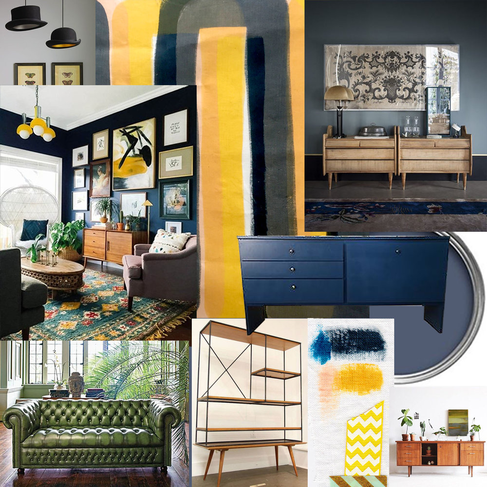 Mood Board for the new and existing features of the living room redecoration, Belgravia