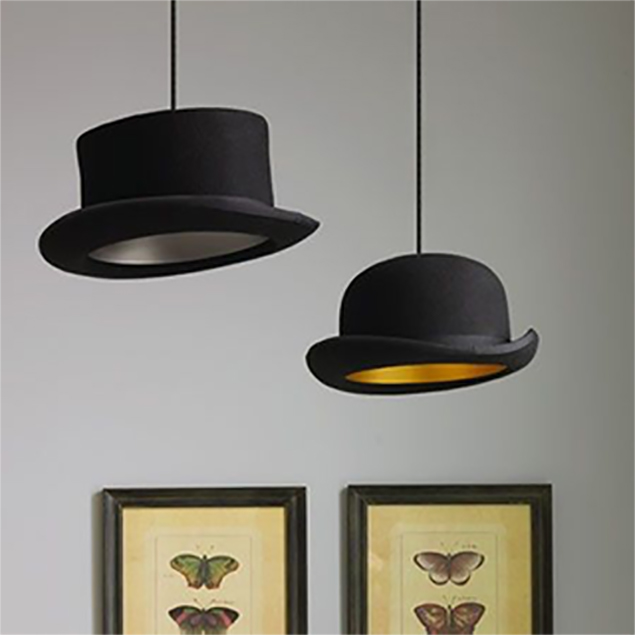 """Jeeves & Wooster"" Pendant hat lights from Graham & Greene existing in the apartment"