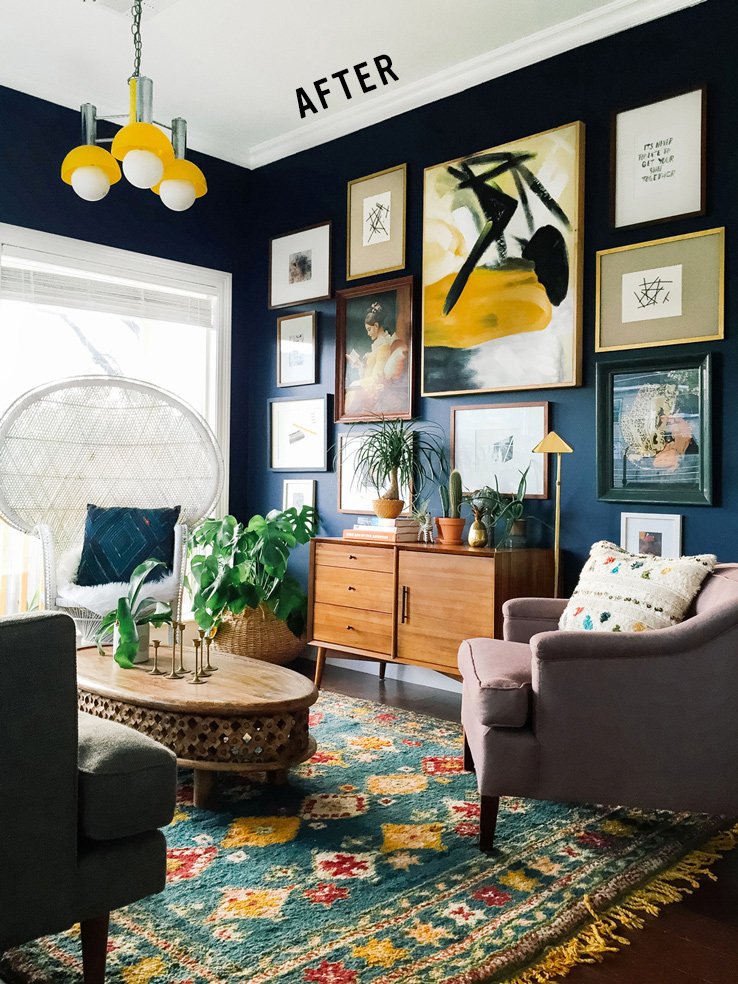 A beautiful example of eclectic style plus dark walls by Dabito on oldbrandnew.com