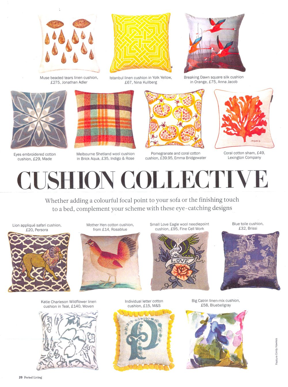Luxury cushions Period Living Magazine on katiecharleson.com