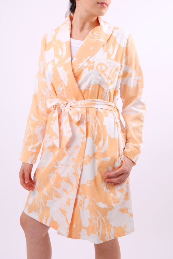 Organic Cotton Dressing Gown Amata Peach Katie Charleson