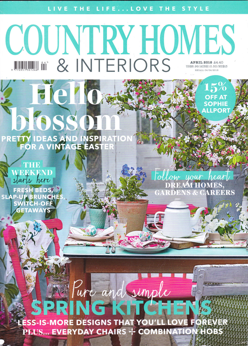 Country homes and interiors magazine feature on katiecharleson.com