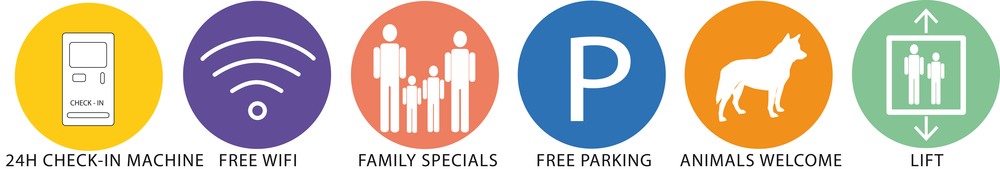 24h check in                                       free wifi                                      family specials                                free parking                               animals welcome