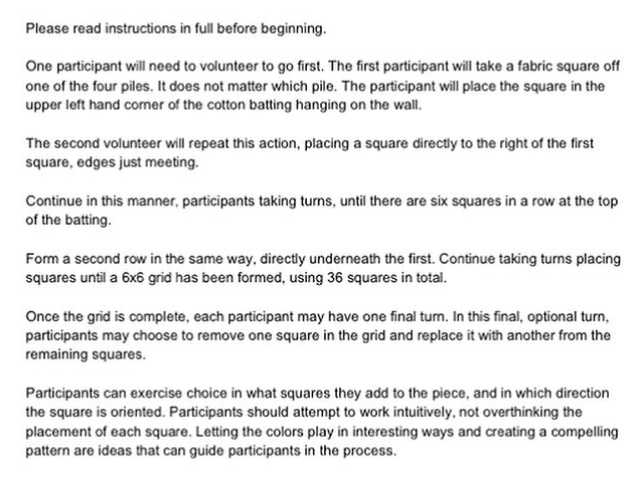 Instructions for the cooperative sculpture.