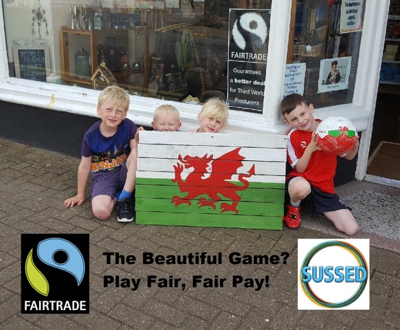 L-R Jack Jones age 7, Samuel Johnson age 3 Lily Jones age 4, and Oliver Johnson age 7, celebrate Welsh Euro success with a fair trade football!