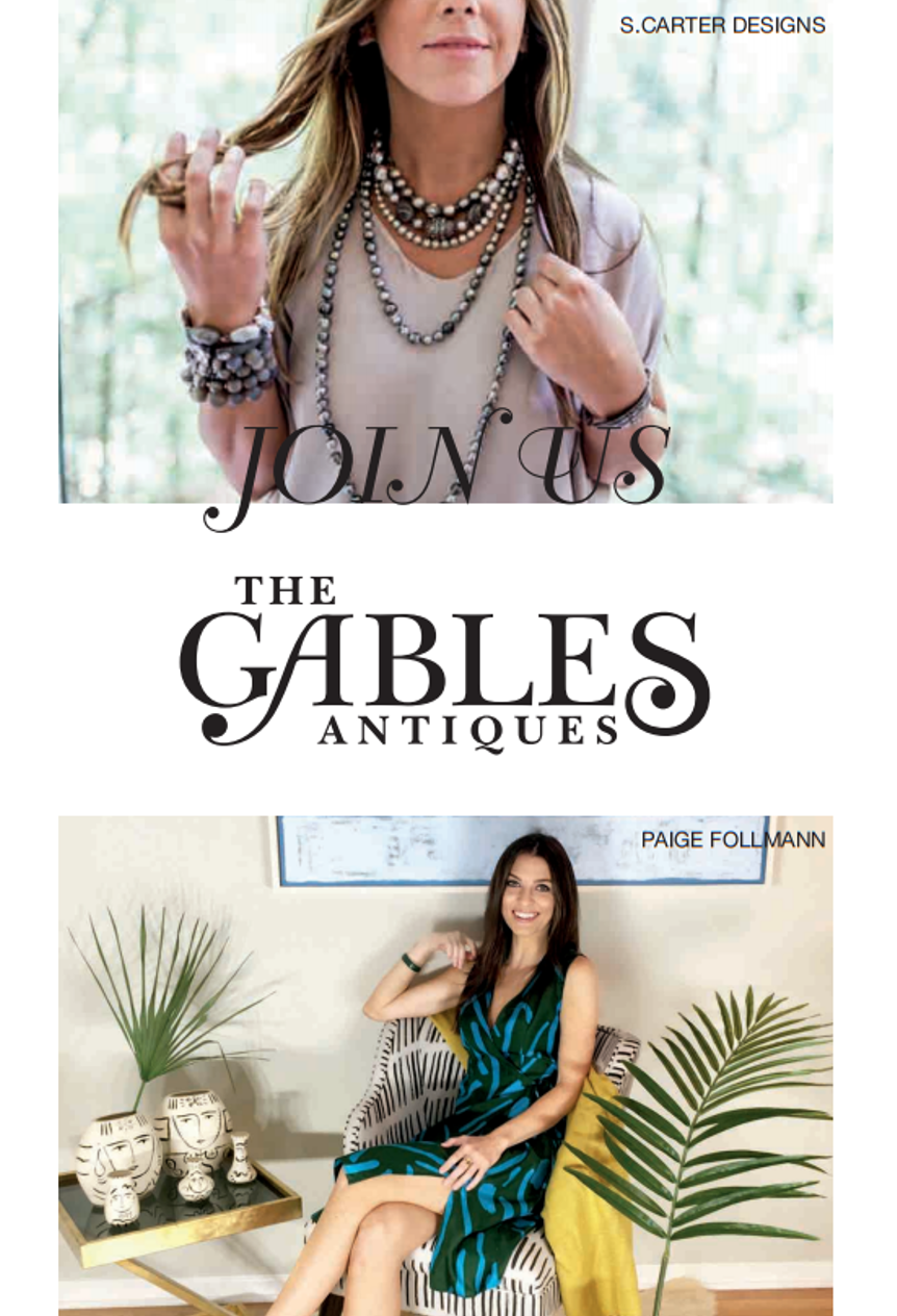 Antiques, Art, Pottery & Jewelry - The evening begins October 5th, 5-8:30 PM at The Gables Antiques showroom in Atlanta and runs through October 14th.Don't miss this special evening of antiques, art, jewelry & friends!