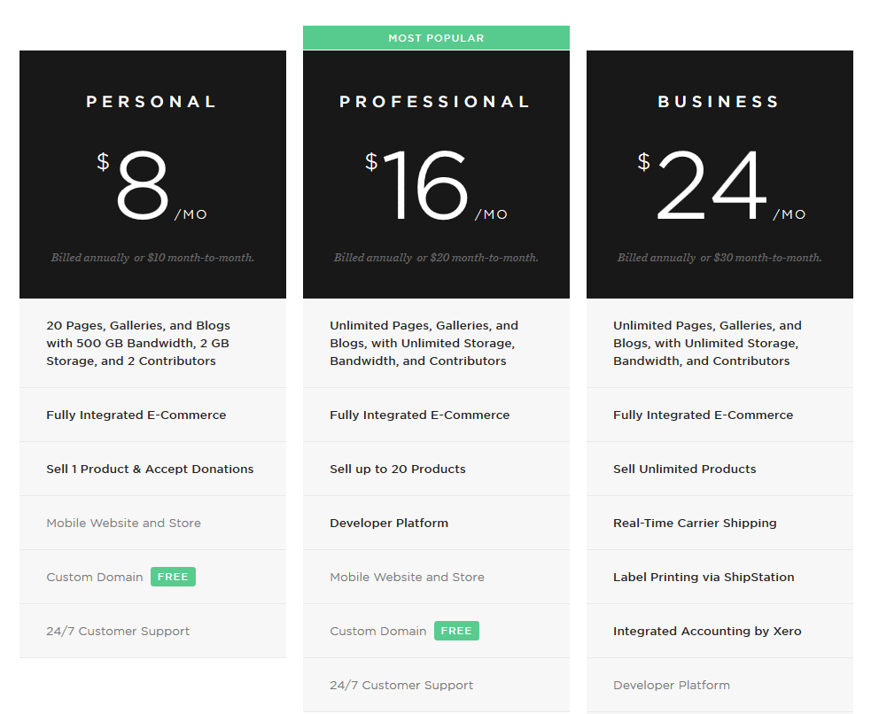 Click to go to Squarespace's Pricing page