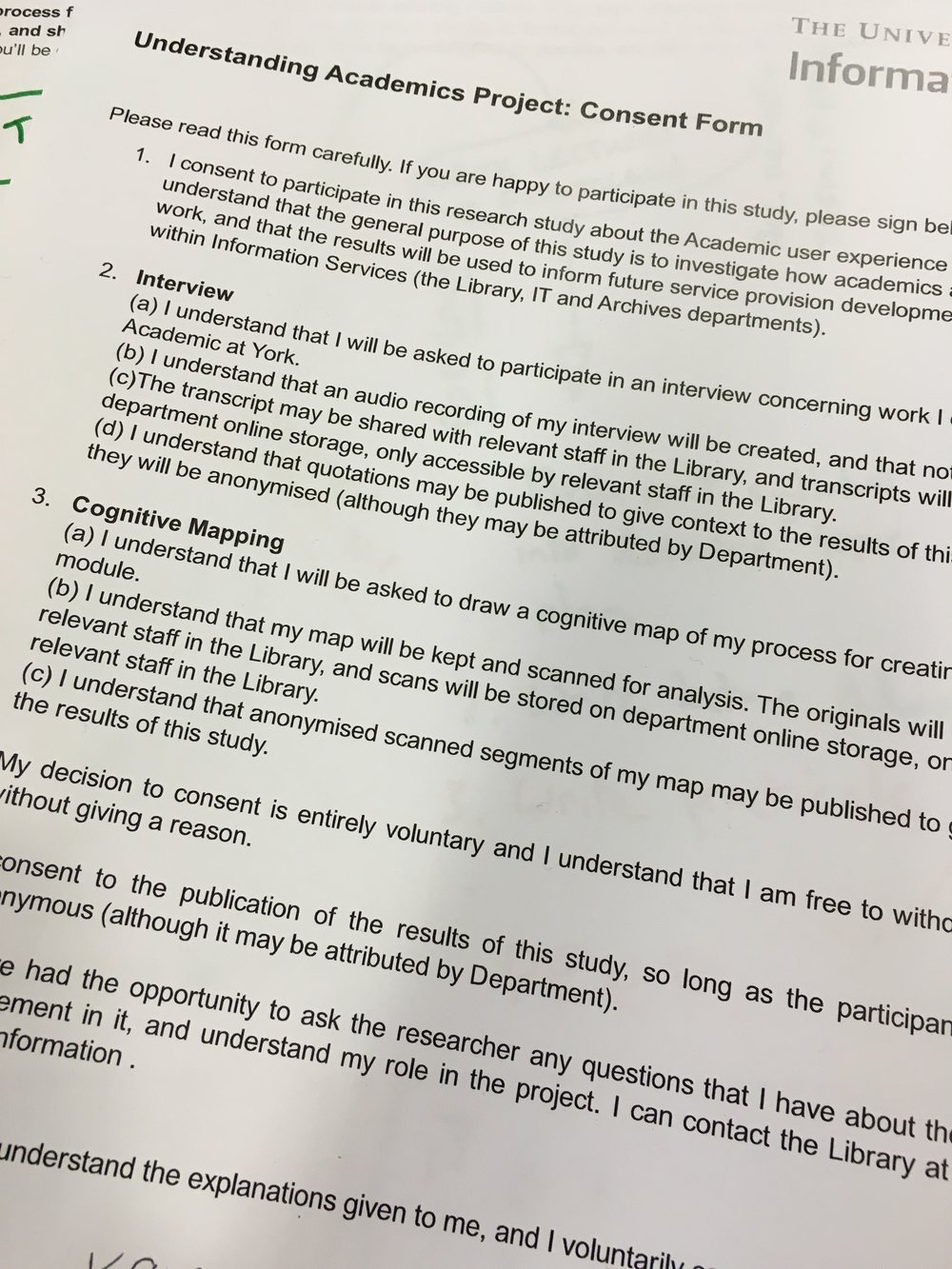 One of the consent forms from the project