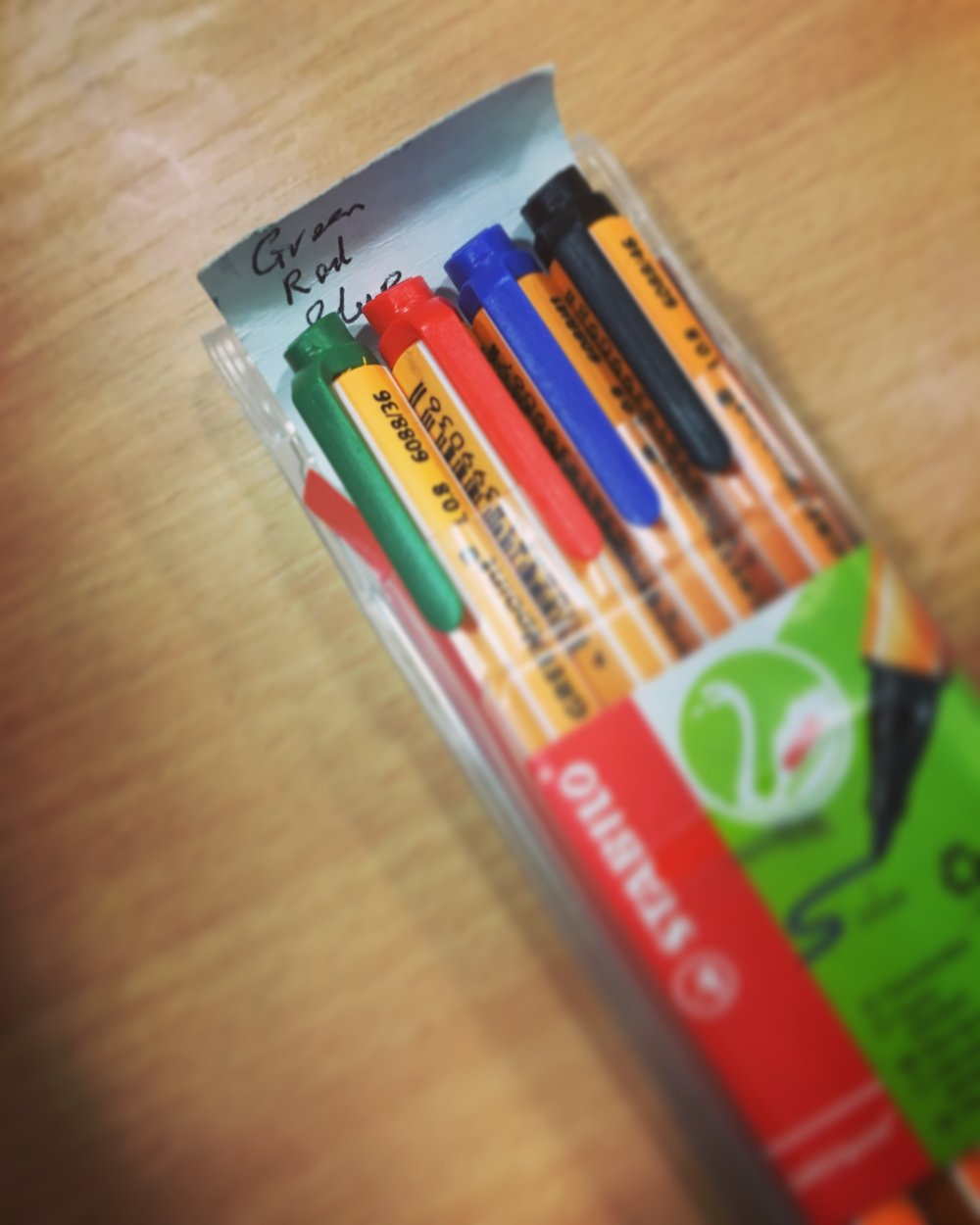 Coloured pens used in cognitive mapping (in this case with the interviewer's reminder about the order in which to use them)