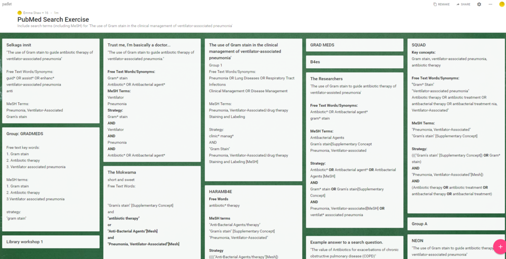 An example of a Padlet board, used by the students to detail search strategies