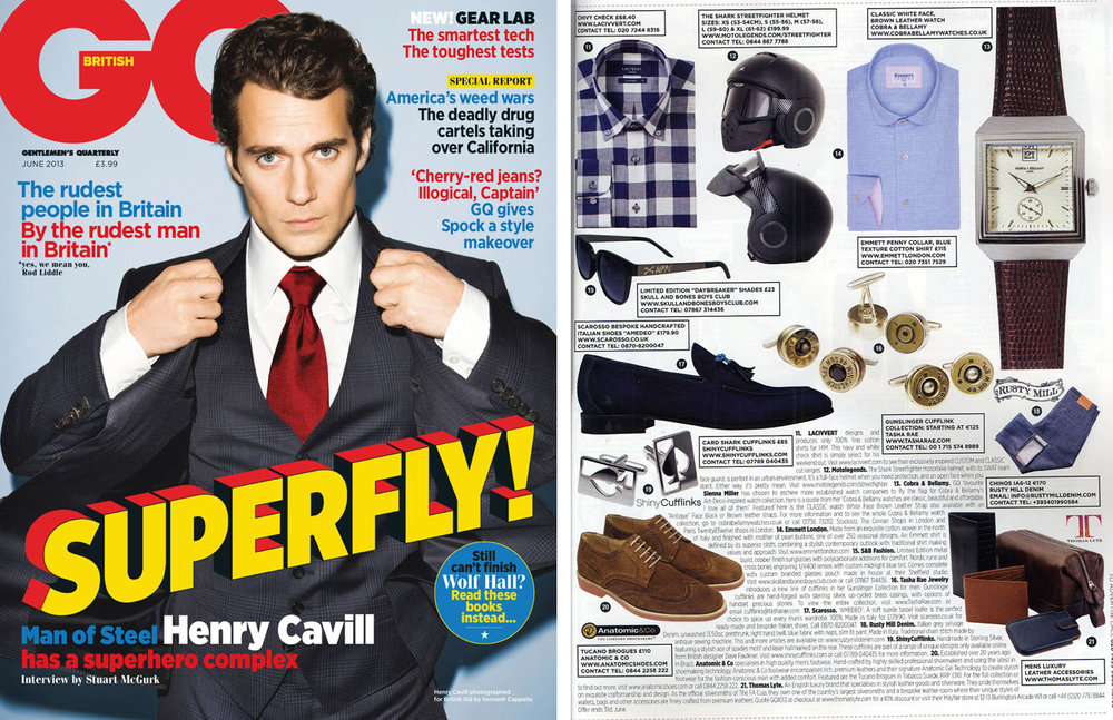 Gunslinger Cufflinks featured in British GQ