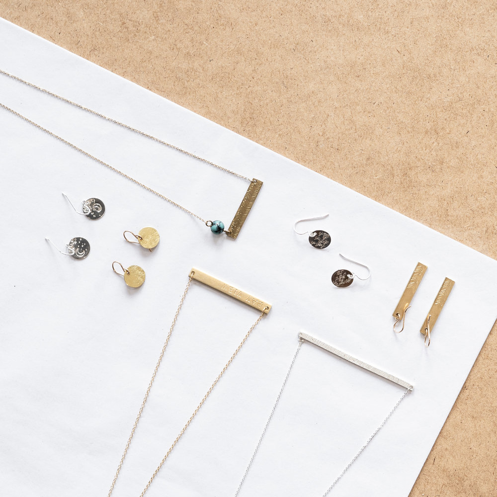 Stamped Jewelry Class - $45 (brass/copper) $65 (silver)Work with sheet metal and stamps to create a pendant necklace or set of earrings - stamp a special name, date, place, or symbol into the metal- or use stamps to create an interesting texture on the surface of the metal.